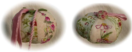 Daisy and Hollyhock pincushions