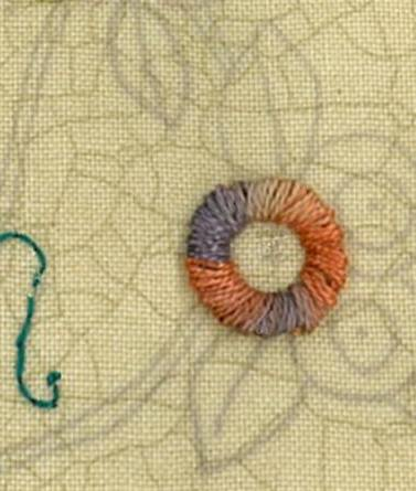 Rope stitch circle sample