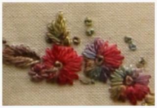 Satin stitch free form  flowers