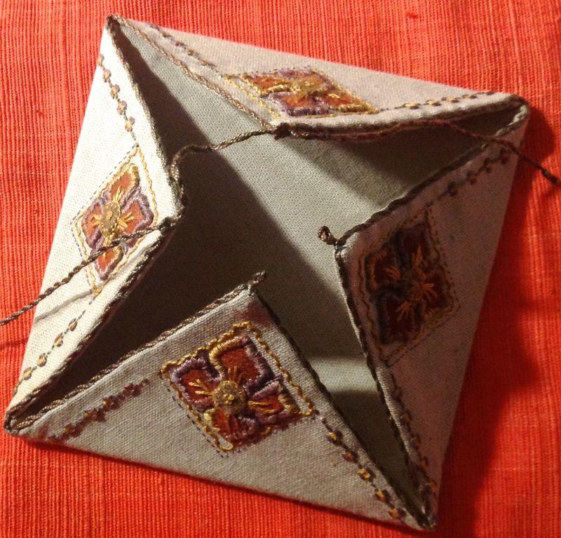 Glenis Four Fold using dark linen and Cottage Garden Threads Cozy wool