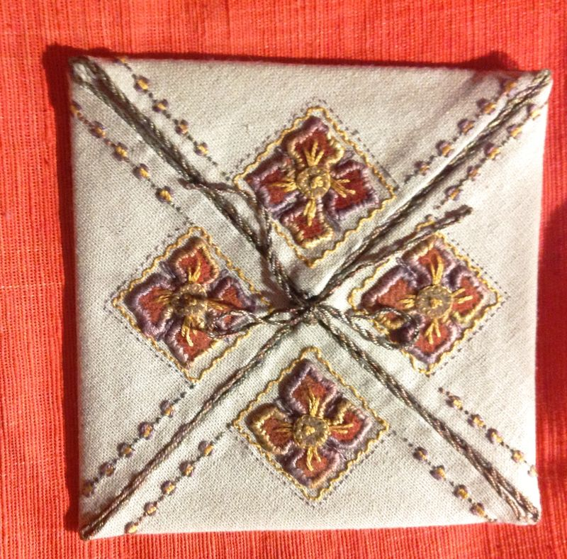 Closed Glenis Four Fold using dark linen and Cottage Garden Threads Cozy wool