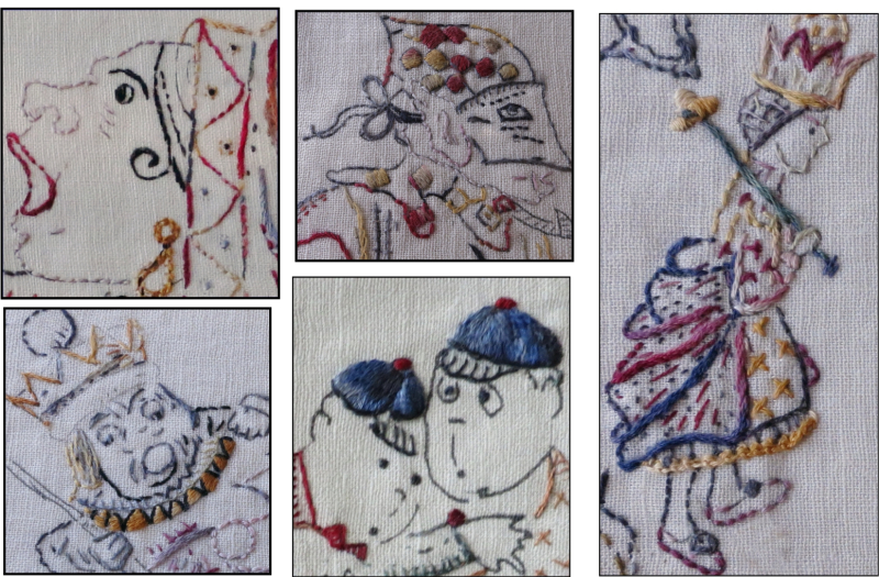 Embroideries from Alice In Wonderland Pre print whole cloth quilt for hand embroidery